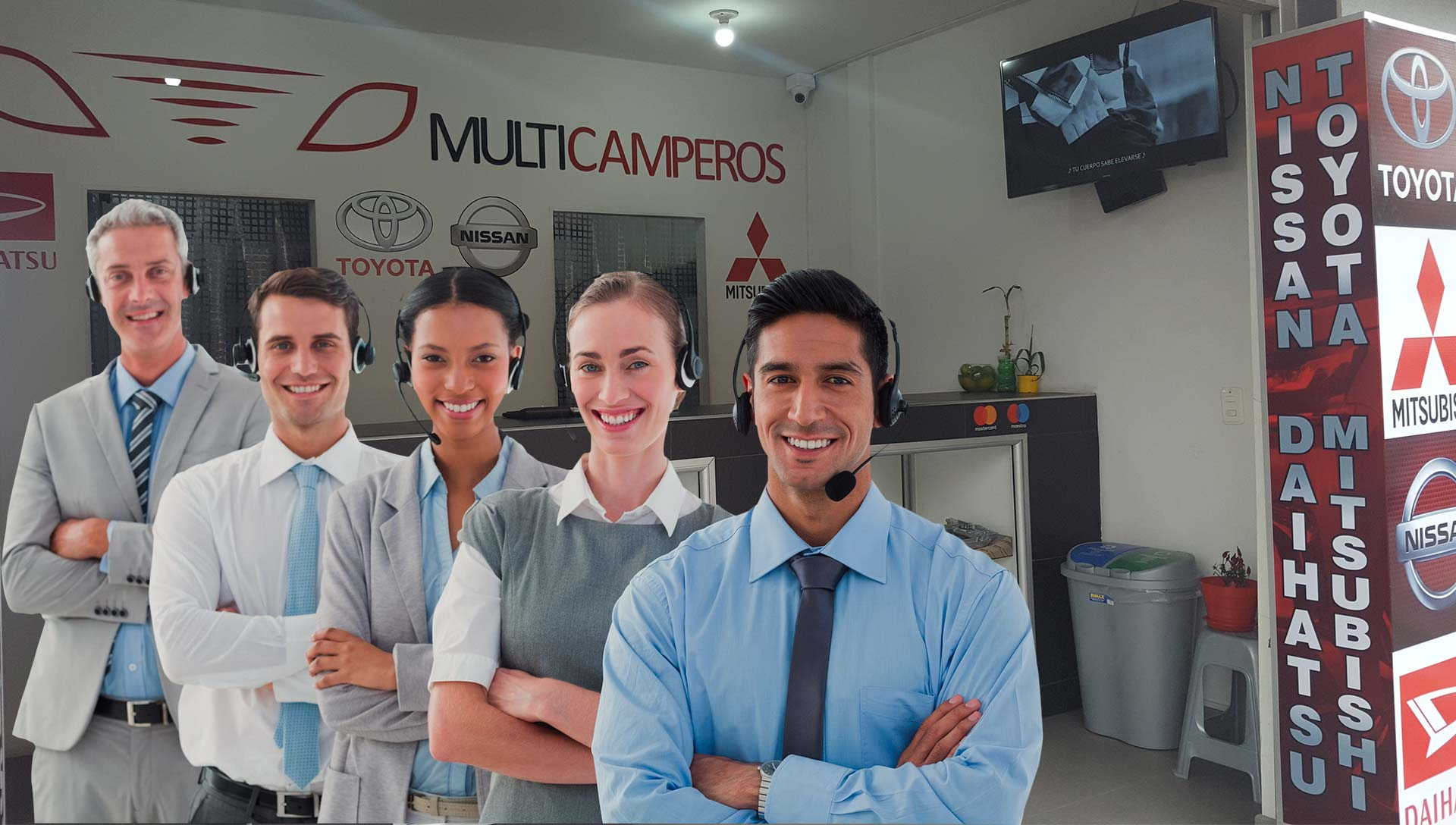 Portrait of call center executives in headset standing with arms crossed